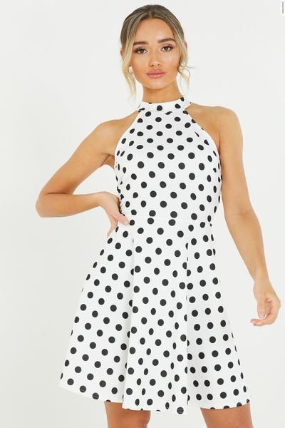 White Polka Dot Skater Dress